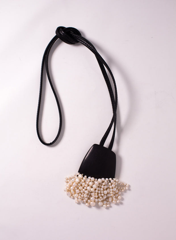 MONIES | Ebony and Pearl Fringe Pendant