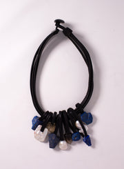 MONIES | Lapis Lazuli & Mountain Crystal Leather Necklace