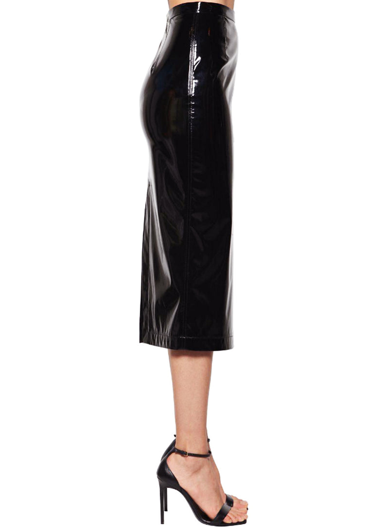 N°21 | Midi Vinyl Pencil Skirt in Black