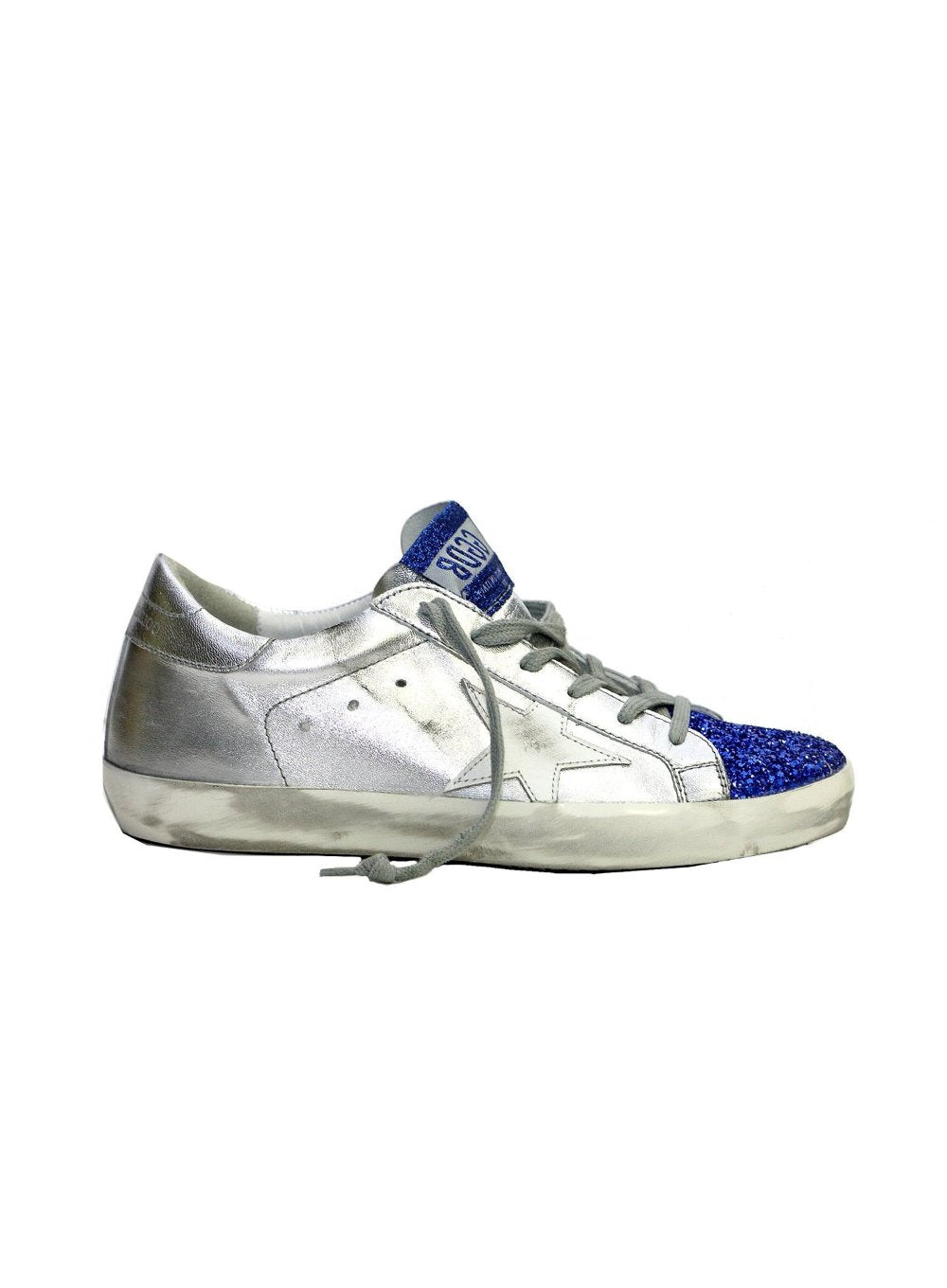 GOLDEN GOOSE | Steel Leather Blue Glitter Sneaker