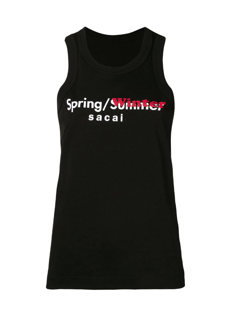 SACAI | 'Spring/Winter' Sleeveless T-Shirt in Black