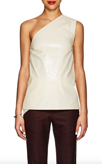 CALVIN KLEIN 205W39NYC | One-Shoulder Blouse In Creme Coated Cotton-Blend