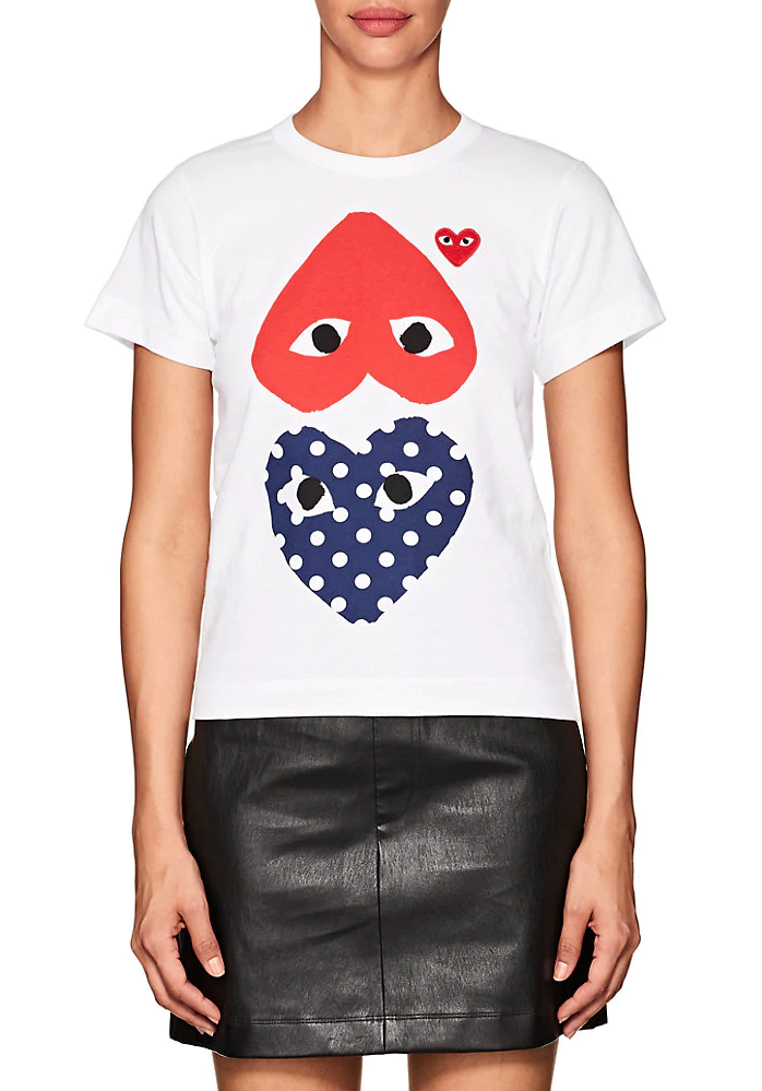 COMME DES GARÇONS PLAY | Red Heart Polka Dot T-Shirt in Blue