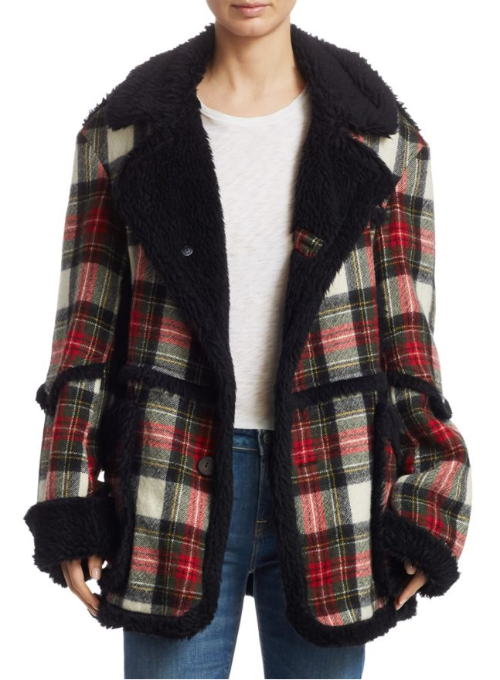 R13 | Wool Coat in Red/Cream Plaid Print