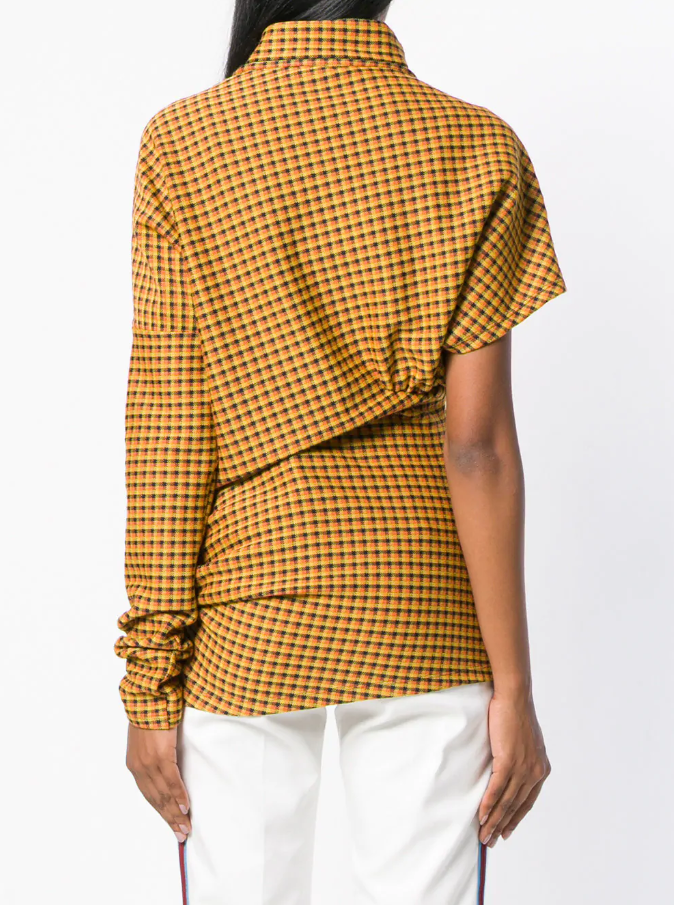 CALVIN KLEIN 205W39NYC | Plaid Blouse With Asymmetrical Sleeves
