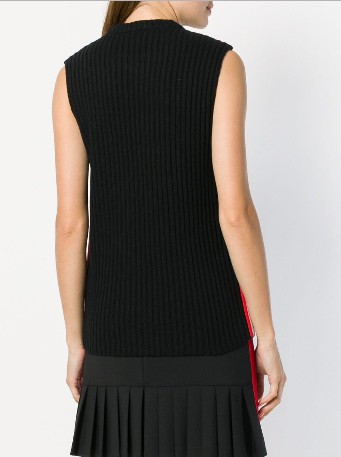 CALVIN KLEIN 205W39NYC | Sleeveless Knit Top With Contrasting Side Stripes