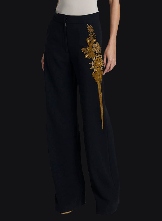 DRIES VAN NOTEN | Metallic Embroidered Pants