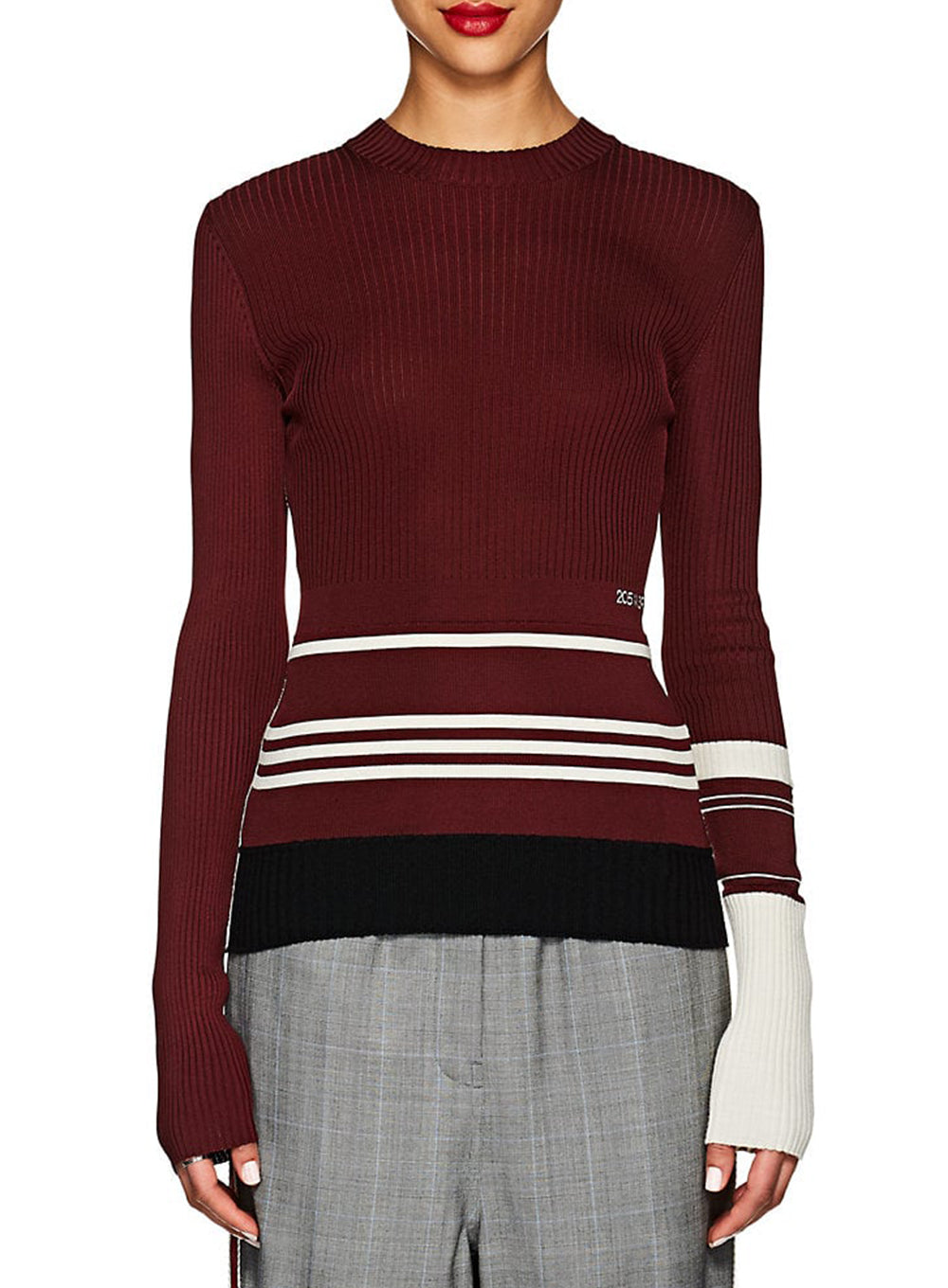 CALVIN KLEIN 205W39NYC | Stripe Detail Knit Sweater in Burgundy/Ivory