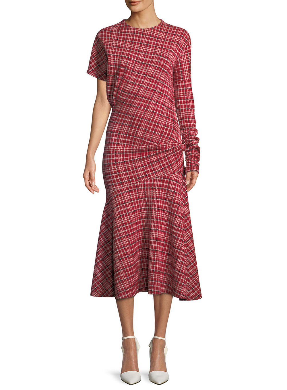 CALVIN KLEIN 205W39NYC | Asymmetric Plaid Midi Dress Flounce Hem in Red