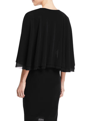 FUZZI | Flutter Sleeve Tulle Dress in Black