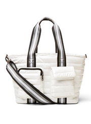 THINK ROYLN | Junior Wingman Bag w/Elevated Pockets in White Patent