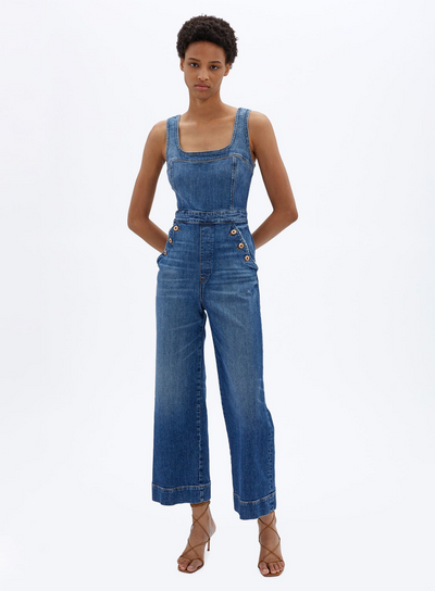 JONATHAN SIMKHAI | Bailey U-neck Denim Jumpsuit in Atlantic