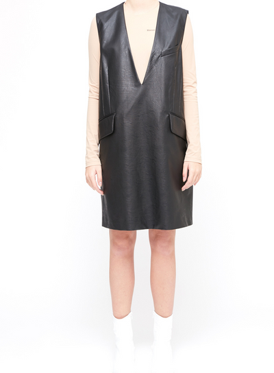 MM6 | Pleather Shift Dress in Black