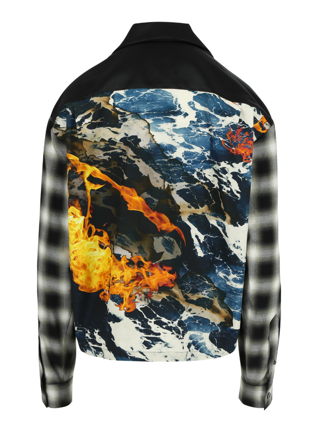 MERYLL ROGGE | Combo Shirt with Grunge Sleeves in Fire & Water