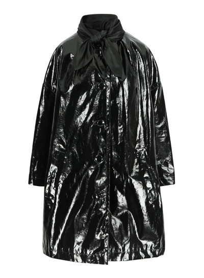 MERYLL ROGGE | Bandana Couture Coat in Patent Black
