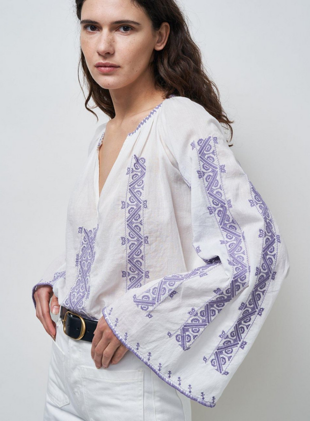 NILI LOTAN | Palestinian Blouse with Lilac Embroidery in White