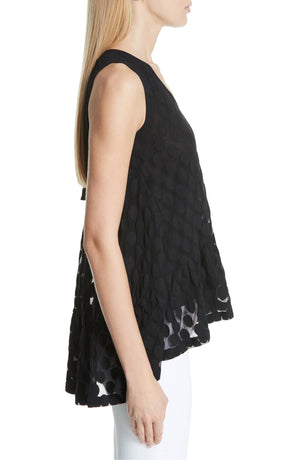 FUZZI | Sheer Dot Tulle Tank in Black
