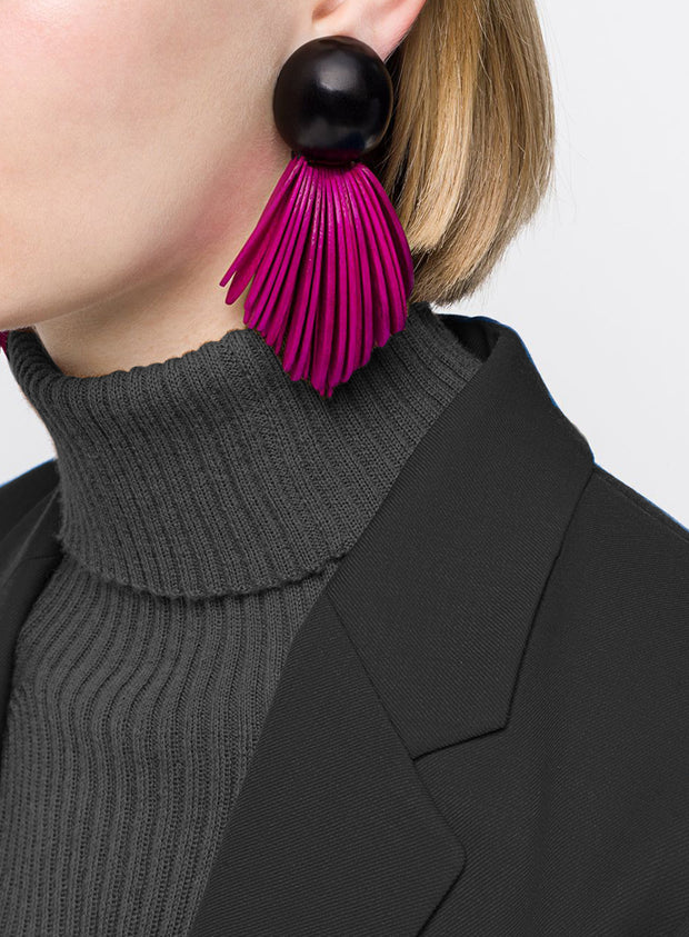 MONIES | Fringe Clip-On Earrings in Pink