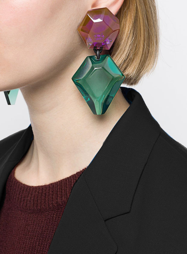 MONIES | Riley Clip-On Earrings in Green/Purple