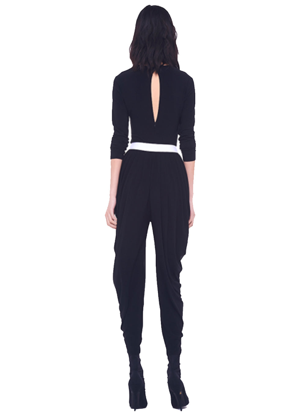NORMA KAMALI | Long Sleeve Waterfall Jumpsuit in Black