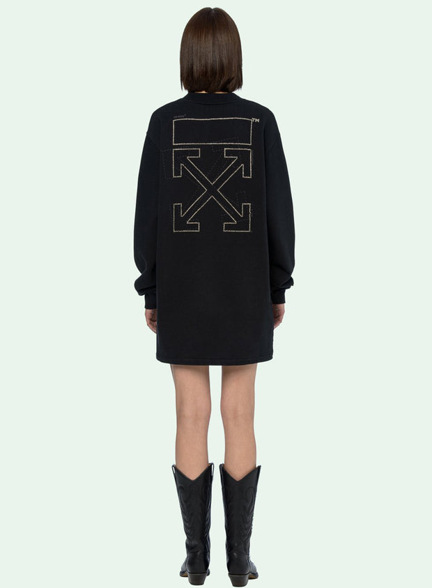 OFF-WHITE | Shifted Carryover Dress in Black With Crystals