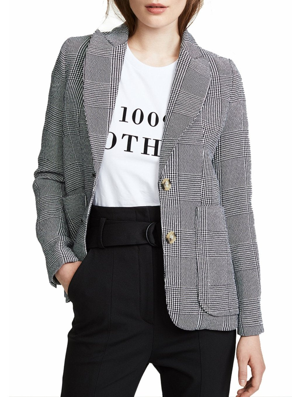 SMYTHE | Portrait Neck Blazer in Black and White Plaid