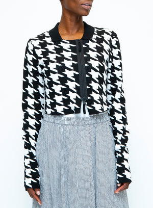 RUNDHOLZ | Houndstooth Zip-Up Cardigan Sweater