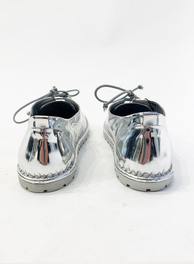 MARSÈLL | Shiny Silver Lace-Up Shoes