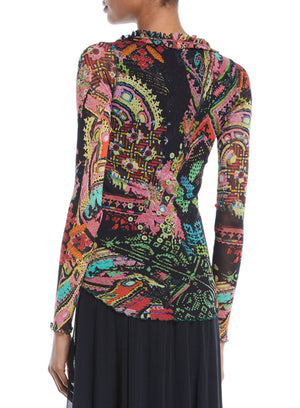 FUZZI | Cross-Stitch Collage Print Mirror Embroidery Top