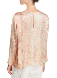 FORTE FORTE | 'Underwater Love' Printed Satin Silk Long-Sleeve Top