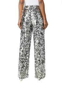 MM6 MAISON MARGIELA | Straight-Leg Silver Sequin-Embellished Tulle Pants