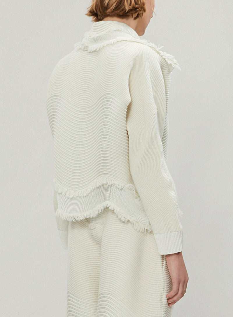 PLEATS PLEASE ISSEY MIYAKE | Hawk Cropped Wool-Blend Jacket in Ivory