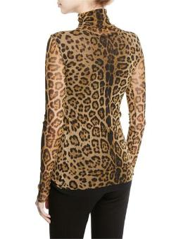 FUZZI | Leopard Animal-Print Long-Sleeve Turtleneck Top