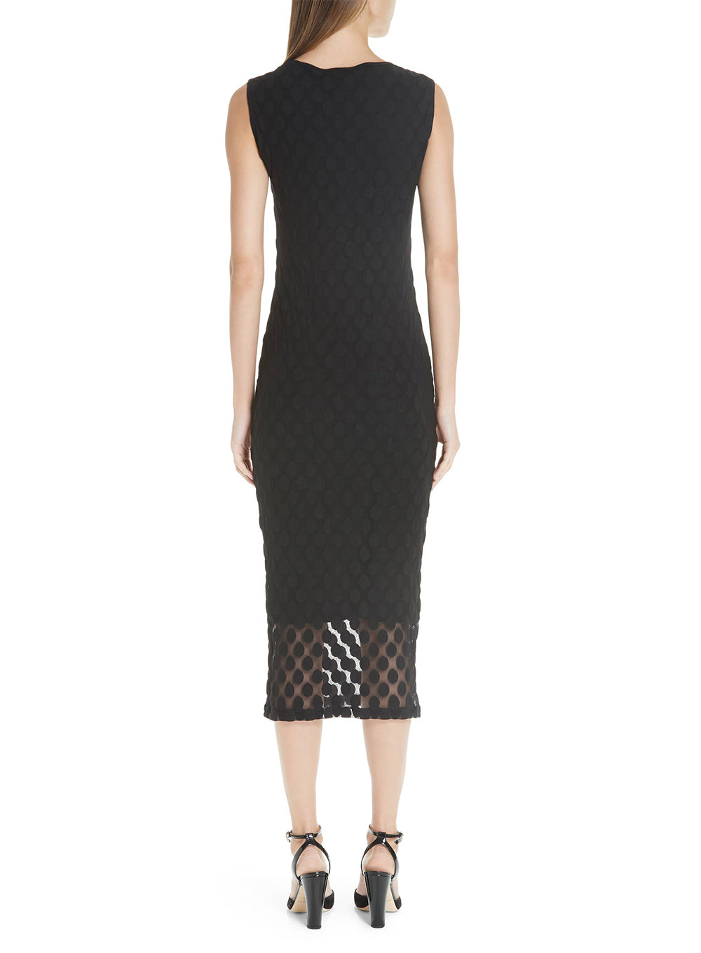 FUZZI | Sheer Dotted Sleeveless Sheath Dress