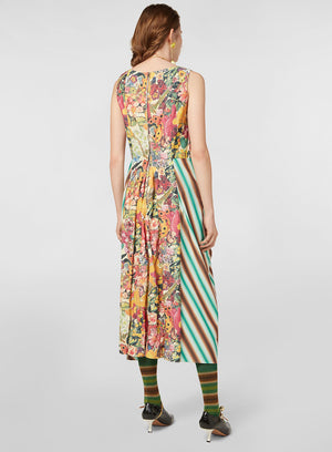 MARNI | V-Neck Dress in Faded Striped Cotton