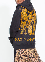 MOSCHINO | Unisex Roman Print Zip-Up Hooded Sweatshirt