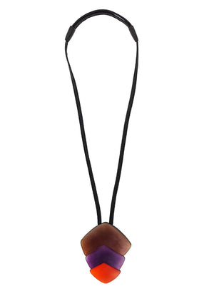 MONIES | Leather & Lucite Chunky Pendant Necklace