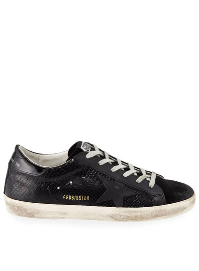 GOLDEN GOOSE | Low-Top Superstar Snake Sneakers in Black