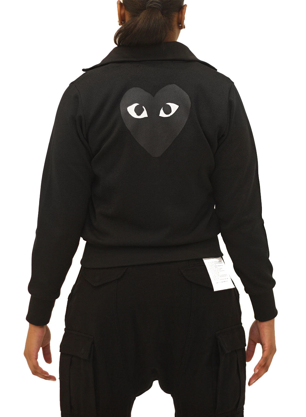 COMME DES GARÇONS PLAY | Men's Big Heart Zip-up Hoodie in Black
