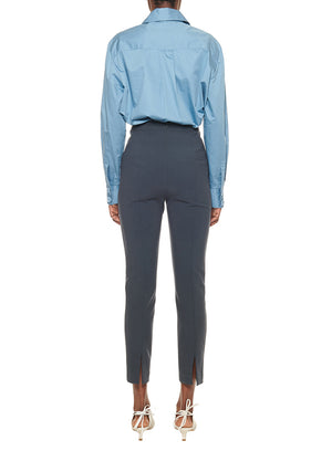 TIBI | Tech Poplin Zip Shirt in Chalk Blue