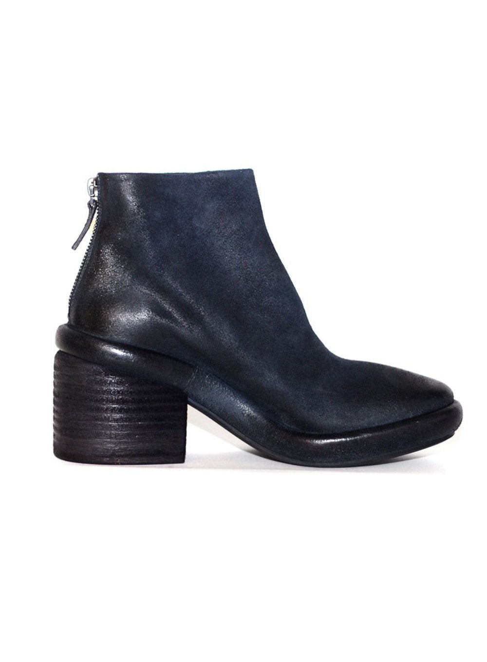 MARSÈLL | Salvagente Leather Ankle Boots in Navy