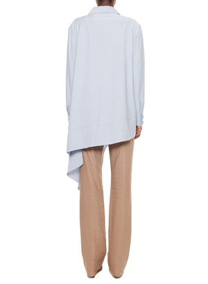 TIBI | Asymmetrical Chambray Twill Draped Top