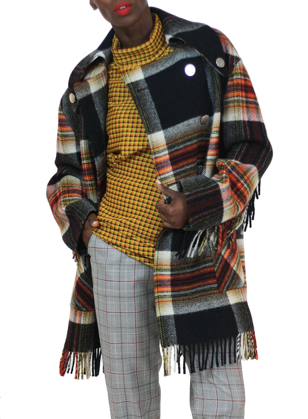 CALVIN KLEIN 205W39NYC | Fringed Caban Coat In Pendleton Multicolor Plaid Wool