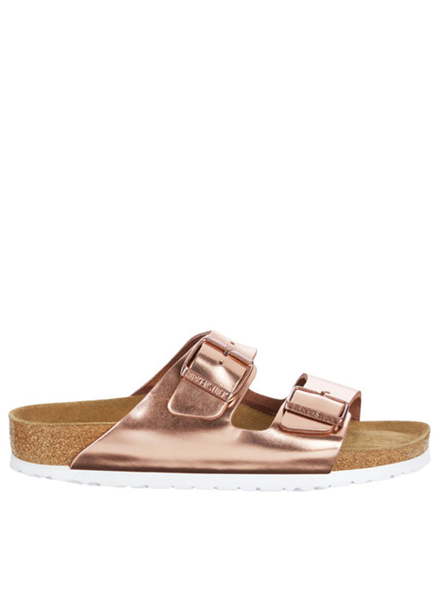 BIRKENSTOCK | Arizona Soft Footbed Metallic Sandal, Copper & White