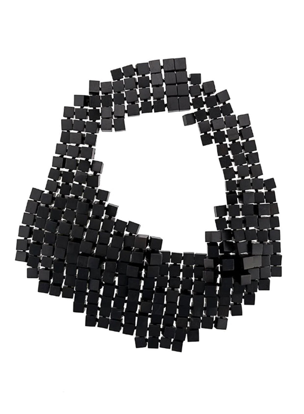 MONIES | Cubed Wood Necklace in Black