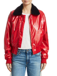 R13 | Cropped Garage Flight Jacket in Red
