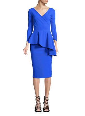 CHIARA BONI | Ruffled Peplum Dress in Sapphire Blue