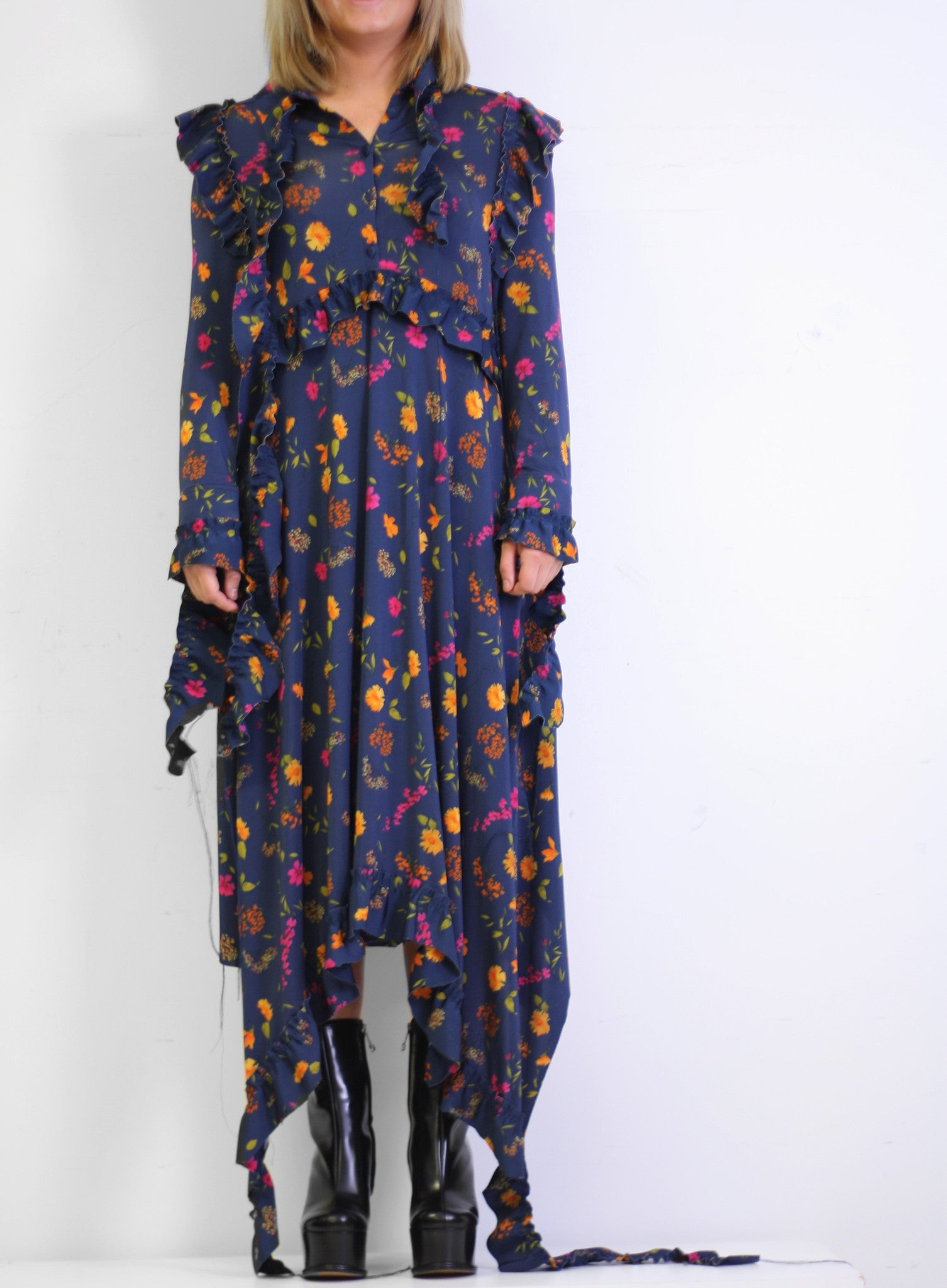 Vetements | High Neck Frilled Floral Print Dress