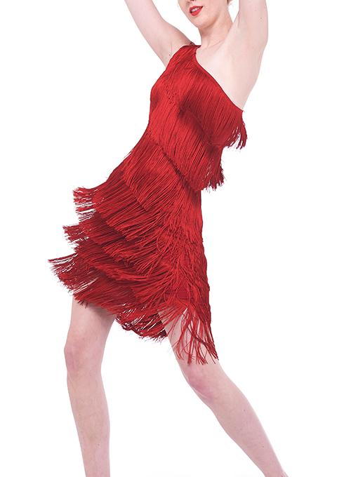 NORMA KAMALI | One Shoulder Fringe Dress in Red