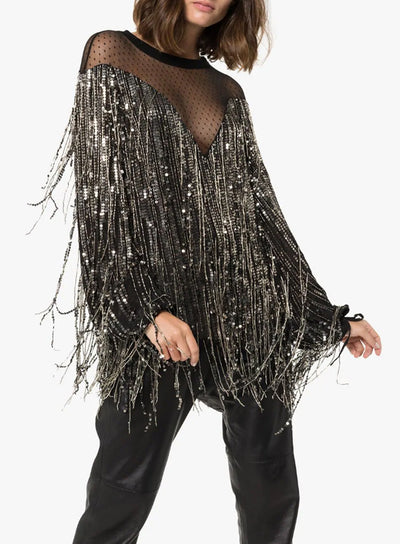 FAITH CONNEXION | Mesh Panel Sequin Fringe Blouse